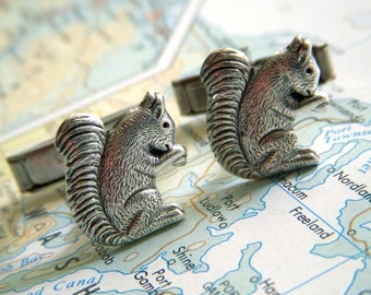 Silver Squirrel Cufflinks Tiny Silver Plated Miniature Woodland Animals Men's Accessories