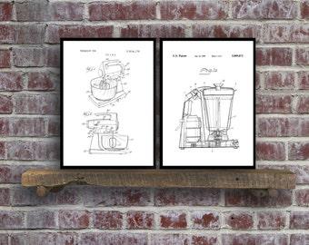 Kitchen Appliance Patent Prints - Set of 2 - Kitchen Decor - Kitchen Mixer Art - Kitchen Blender Patent - Vintage Kitchen Decor