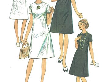 1970s Dress Pattern Jiffy Simplicity Back Zip Half Size Vintage Sewing Women's Misses Size 14. 5 Bust 37 Inches