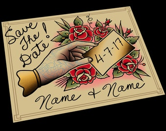 Customizable Save The Date Tattoo Flash Design Cards (or Digital File)