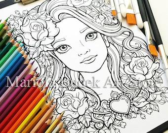Flower Girl   Mariola Budek - Coloring Page