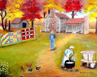 Folk Art Print Grandma S Quilts Old Woman House Dirt