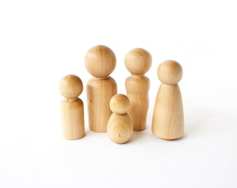 Wood Peg Doll Family / Wood Toy Dolls / Wood Family / Wood Dolls / Baby Announcement