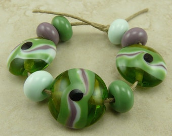 Transparent Green and Violet Lentil Lampwork Bead Set - Mint Green Sage Purple Black Dot Swirl SRA - I ship Internationally