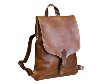 Leather Backpack, Leather Backpack Women, Leather Backpack Men, Brown Leather Backpack, Minimalist Backpack, Small Backpack, Rucksack
