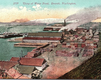 Everett, Washington, Water Front - Postcard - Vintage Postcard - Unused (Y)