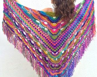 Boho shawl   colorful shawl  rainbow shawl   bohemian shawl  vibrant colors  hippie shawl  multicolor shawl  gift for her  fast shipping