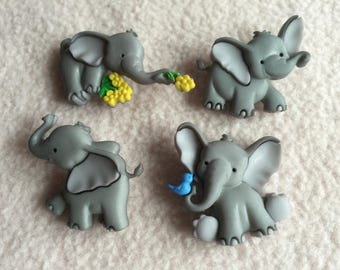 TINY TRUNKS ~ Dress It Up Buttons ~ Tiny Trunks ~ 4 Adorable Baby Elephants