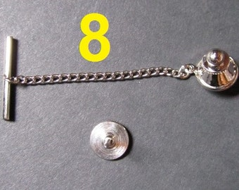 8 Sets - Silver Tone Tie Tacks (Spring Loaded Clutch and Chain)