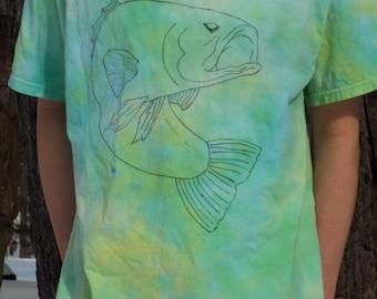 Bass Shirt, Custom Tie Dye Fishing Shirt, Mens Tie Dye Shirt, Fisherman Gift, Fly Fishing, Fathers Day Gift, Gifts for dad Mens Fishing Gift