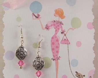 Silver Earrings, Pink Crystal Earrings, Small dainty Earrings, Silver Jewelry, Birthday Gifts for Her Women Mother, Sister, Daughter, Friend