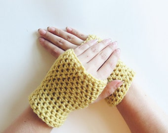 Yellow Wrist Warmers. Crochet Fingerless Mittens. Texting Gloves. Light Yellow Gloves. Driving Gloves. Womens Mittens. Fall Accessories.