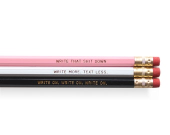 Writing Pencil Set - Set of 6 Pencils, Black, Pink and White