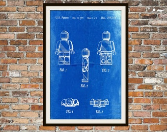 Lego Patent - Blueprint Art of a Lego Figure Man Person Technical Drawings Engineering Drawings Patent Blue Print Art Item 0074