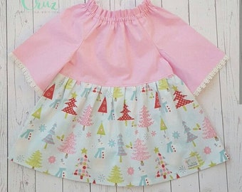 6-12 month Ready to ship! Christmas dress- ruffled neck-peasant style dress- Girl's party dress