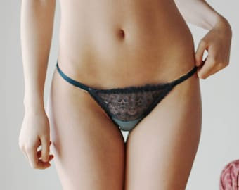 womens bikini panties with lace trim - CUPID - sheer mesh lingerie range - made to order