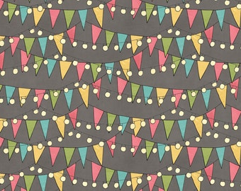 Grey Bunting and Lights Cotton Fabric from the On the Road Again Collection by Katie Doucette for Wilmington Prints