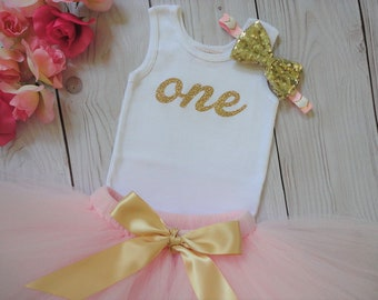 Pink and Gold Baby Girl 1st Birthday Outfit | Baby Tutu | Tutu Dress | Birthday Dress | Baby Girls Cake Smash Outfits | Birthday Tutu