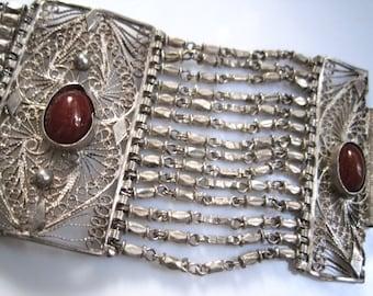 Vintage Carnelian Bracelet - Silver Egyptian Link Bracelet - Ethnic Jewelry - Egyptian Jewelry