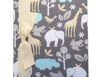 """Baby Memory Book (tight bound) - """"Zoology"""", animal theme nursery, baby record book, baby shower gift, new baby gift"""