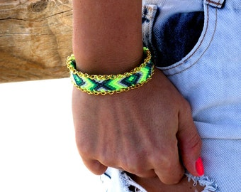 Chain Trimmed Friendship Bracelet. Electric Lime.