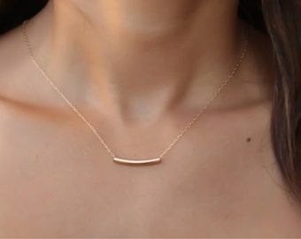 SALE- Gold Necklace gold curved bar necklace delicate gold tube necklace bar necklace, Geometric, Modern, Minimal, Simple Necklace
