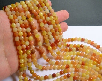 Orange Jade 6mm round - A quality - 64 beads per strand -  1 full strand - Natural - RFG547