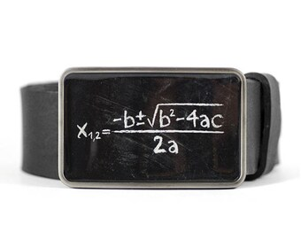 Math Belt Buckle, Science belt buckle, Geek belt buckle, Quadratic Equation, Gift for him, Gift for men, men's belt buckle