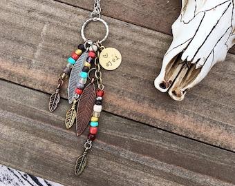Handcrafted jewelry, Boho necklace, Southwest jewelry, feather necklace,  ajéí (heart) necklace