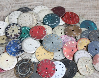 """vintage watch faces 1  """" (25 mm) / set of  70 watch faces / watch dial, circle / old vintage watch parts  steampunk supplies / art finds /"""
