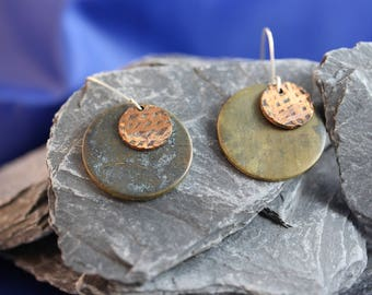 Copper Earrings with Greenish Patina and Brass Overlay  (082017-045)