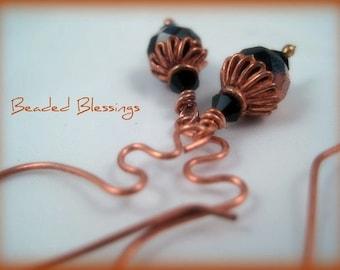 Healing Copper And Czech Glass Earrings