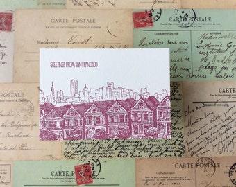San Francisco - five letterpress postcards