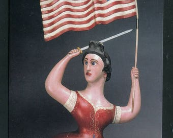 """Women Wielding American Flag And Sword/A 19th Century Carving """"Liberty""""/Unused Postcard"""