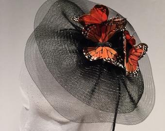 Fascinators- Butterfly Headpiece- Tea Party Hat- Wedding Fascinator- Butterfly Headdress- Kentucky Derby-Mad Hatter -Monarch