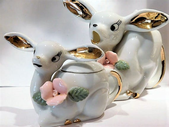 Sugar Creamer Condiment Set Condiment / 1950s Mid Century Deer