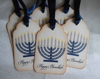 Vintage Inspired Menorah Happy Hanukkah Gift Tags