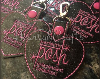 Glitter Perfectly Posh Embroidered Key Fob/Zipper Charm