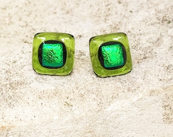 Sterling Silver and Fused Glass Studs Light Green Earrings