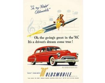 1950 Ad Print - Red Rocket 88 Oldsmobile Car Olds Automobile