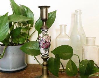 Vintage Brass Handpainted Candlestick
