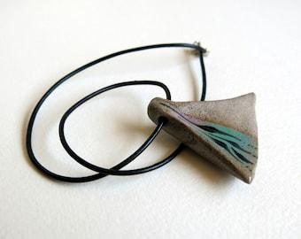 ceramic pedant - ceramic necklace - ceramic blue pedant - hand made pedant - pedant