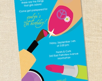 Sweet Wishes Girls Turquoise Manicure Pedicure Birthday Party Invitations - PRINTED - Digital File Also Available