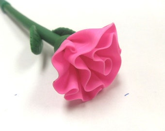 New Cute Polymer Fimo Clay pink carnation Flower Rose Pen