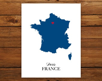 France Country Love Map Silhouette 8x10 Print - Customized