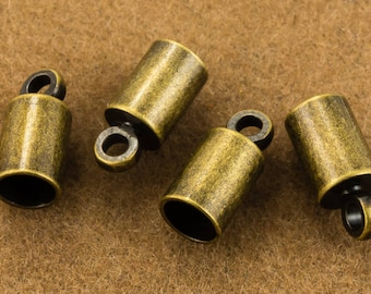 4mm Antique Brass Cord End Cap #MFE108