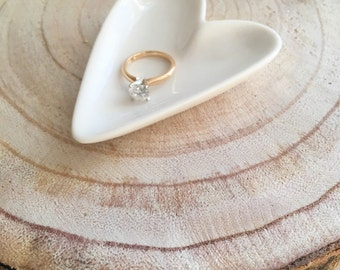White Heart Ring Dish   Jewelry Tray   Wedding or Engagment Gift