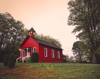 Landscape Photography | Oregon | Old Schoolhouse | Red House Print | Country | Rural | Tilt Shift | Americana