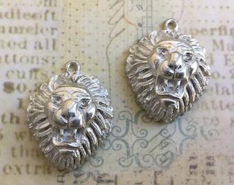 SALE Cast Lion Pendant lead free pewter pendant made in USA set of 3 Destash