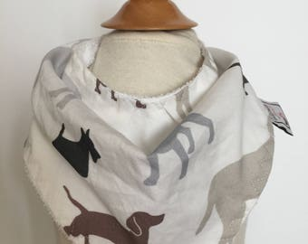 custom bandana bib ~ gray/brown dogs ~  drool bib ~ chic couture ~ baby accessories ~ custom bandana bib from lillybelle designs
